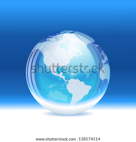 Vector transparent snow globe with map. Layered. - stock vector