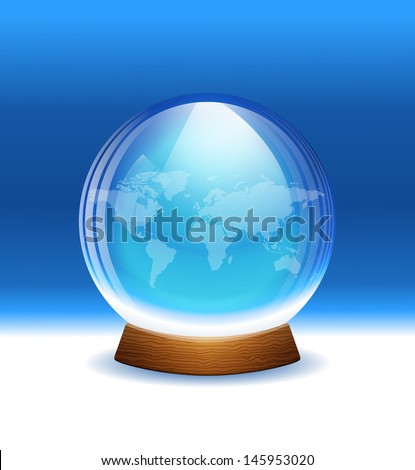 Vector transparent snow globe with map. Layered.