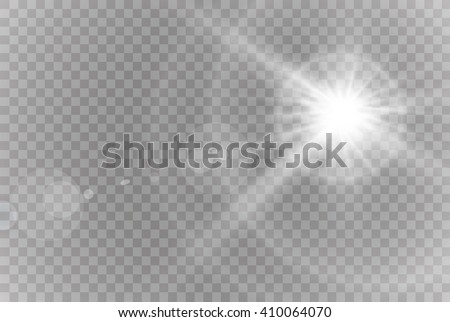 Vector transparent sunlight special lens flare light effect. - stock vector