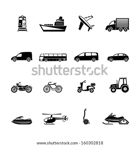 vector  transport icon set - stock vector