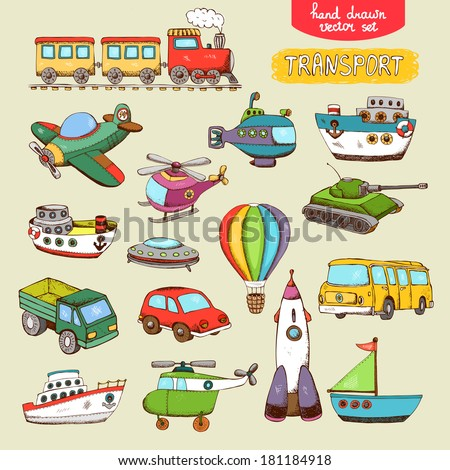 vector transport toys: train plane car boat - stock vector