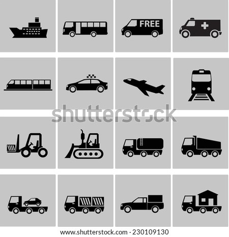 Vector transportation icon set - stock vector