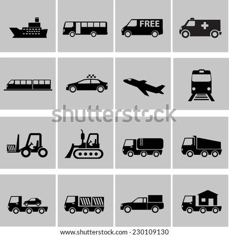 Vector transportation icon set - stock vector