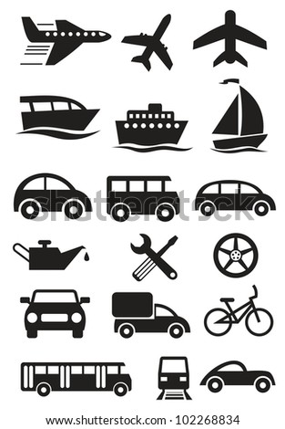 Vector transportation stylish icons set - stock vector