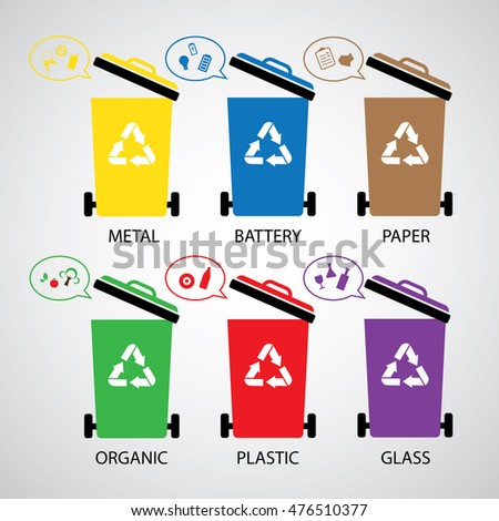 vector trash categories recycle garbage bin