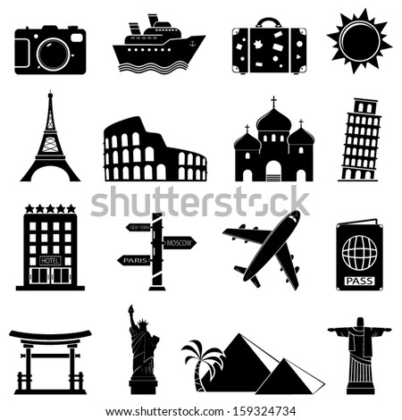 Vector travel and landmarks icons - stock vector