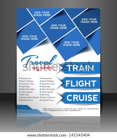 Vector Travel brochure, flyer, magazine cover & poster template - stock vector