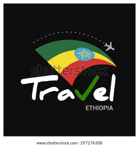 Vector travel company logo design - Country travel agency logo - Country Flag Travel and Tourism concept t shirt graphics - Travel Ethiopia Symbol - vector illustration - stock vector