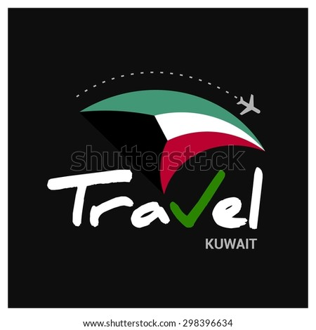 Vector travel company logo design - Country travel agency logo - Country Flag Travel and Tourism concept t shirt graphics - Travel Kuwait Symbol - vector illustration - stock vector