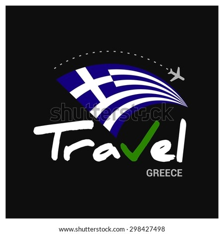 Vector travel company logo design - Country travel agency logo - Country Flag Travel and Tourism concept t shirt graphics - Travel Greece Symbol - vector illustration - stock vector