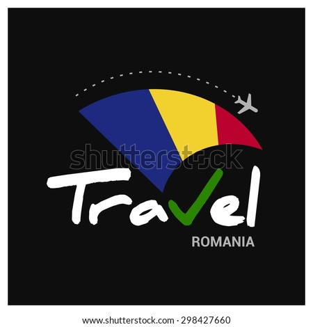 Vector travel company logo design - Country travel agency logo - Country Flag Travel and Tourism concept t shirt graphics - Travel Romania Symbol - vector illustration - stock vector