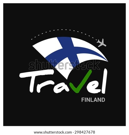 Vector travel company logo design - Country travel agency logo - Country Flag Travel and Tourism concept t shirt graphics - Travel Finland Symbol - vector illustration - stock vector