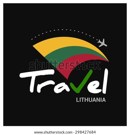 Vector travel company logo design - Country travel agency logo - Country Flag Travel and Tourism concept t shirt graphics - Travel Lithuania Symbol - vector illustration - stock vector