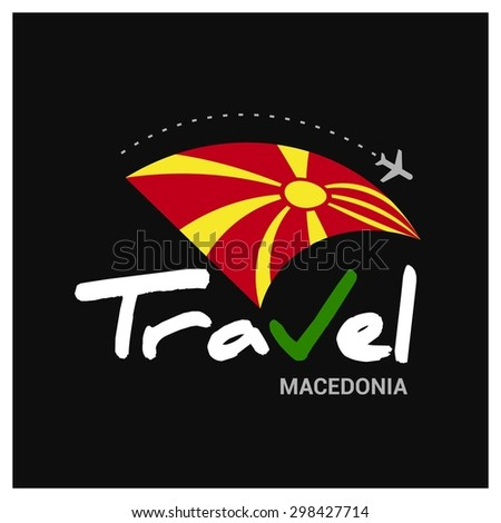 Vector travel company logo design - Country travel agency logo - Country Flag Travel and Tourism concept t shirt graphics - Travel Macedonia Symbol - vector illustration - stock vector