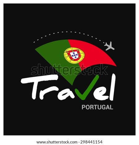 Vector travel company logo design - Country travel agency logo - Country Flag Travel and Tourism concept t shirt graphics - Travel Portugal Symbol - vector illustration - stock vector