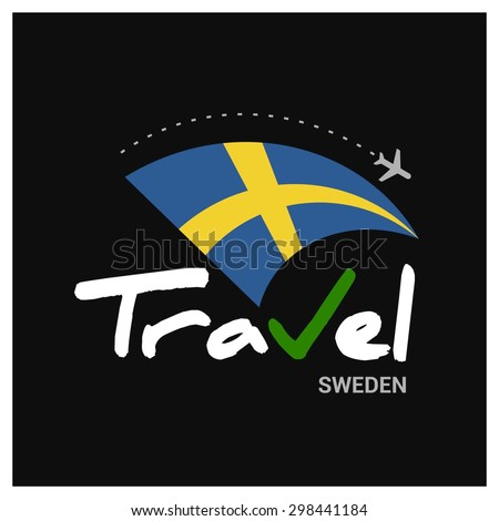 Vector travel company logo design - Country travel agency logo - Country Flag Travel and Tourism concept t shirt graphics - Travel Sweden Symbol - vector illustration - stock vector