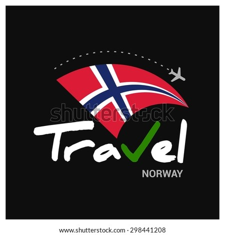 Vector travel company logo design - Country travel agency logo - Country Flag Travel and Tourism concept t shirt graphics - Travel Norway Symbol - vector illustration - stock vector