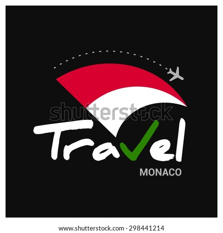 Vector travel company logo design - Country travel agency logo - Country Flag Travel and Tourism concept t shirt graphics - Travel Monaco Symbol - vector illustration - stock vector