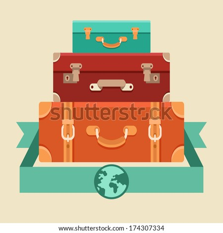 Vector travel concept in flat style - stack of vintages suitcases - stock vector