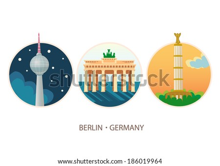 Vector travel destinations icon set - Berlin, Germany. Design illustration - stock vector