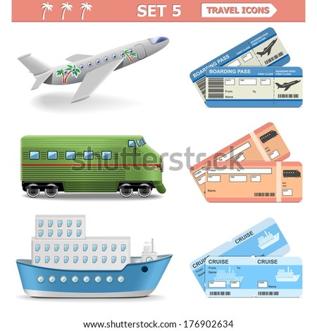 Vector Travel Icons Set 5 - stock vector