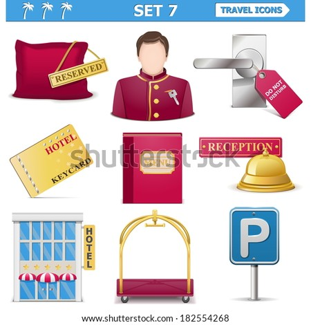 Vector travel icons set 7 - stock vector