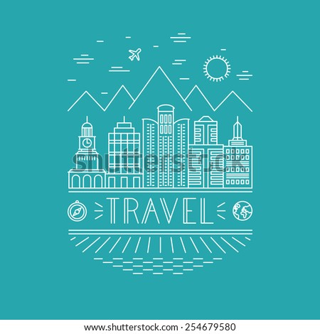 Vector travel poster design template in outline style - landscape with skyscrappers and hand lettering - line icons  - stock vector