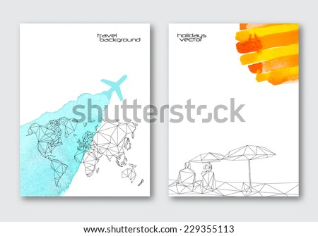 Vector travel poster templates hand drawn stock vector 229355113 vector travel poster templates hand drawn watercolor stain background triangular world map and abstract gumiabroncs Choice Image