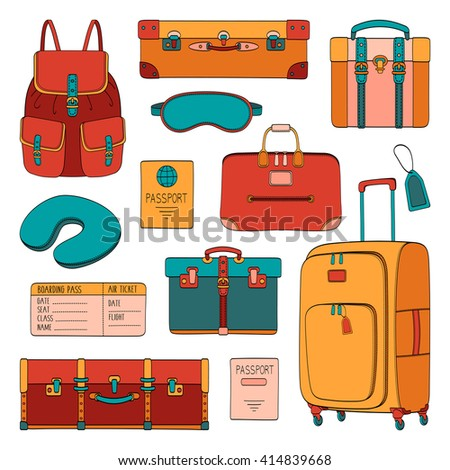 Vector traveler's set of passenger accessories, luggage and equipment. Travel stuff illustration - stock vector