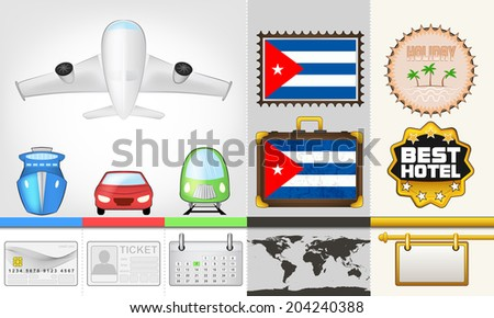 vector traveling and transport collection as trip to Cuba illustration - stock vector