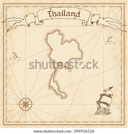 vector treasure map thailand stylized old stock vector 394926526