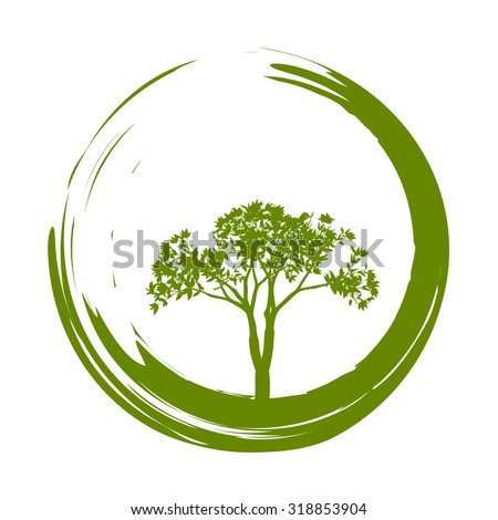 Vector Tree and Zen Circle Illustration - stock vector