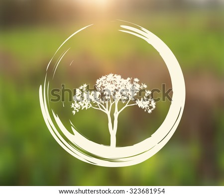Vector Tree and Zen Circle Illustration on Natural Background - stock vector