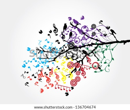 vector tree branch with musical notes and birds - stock vector