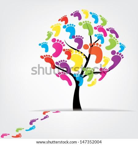 vector tree, foot, paw, print - stock vector