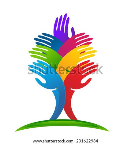 Vector Tree hands concept of community,workers,unity,social networking icon image logo template - stock vector