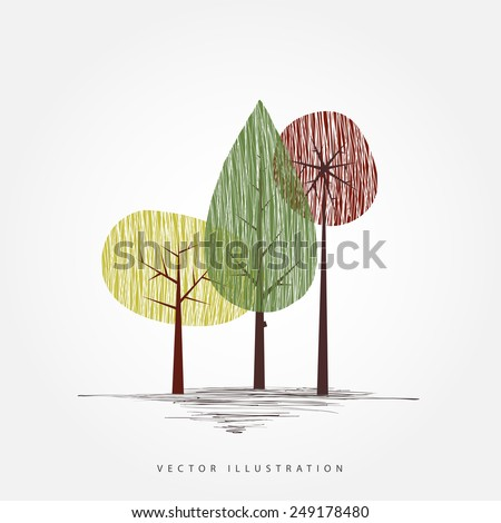 Vector tree illustration. Cute naive nature concept for background, banner, poster, brochure design. - stock vector