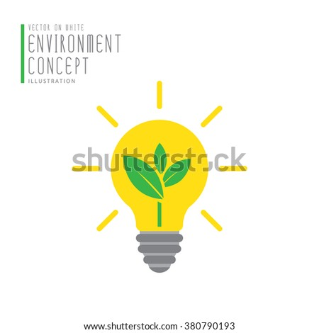 Vector tree in bulb icon symbol environment concept flat style.