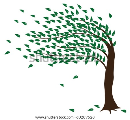 vector tree in the wind - stock vector