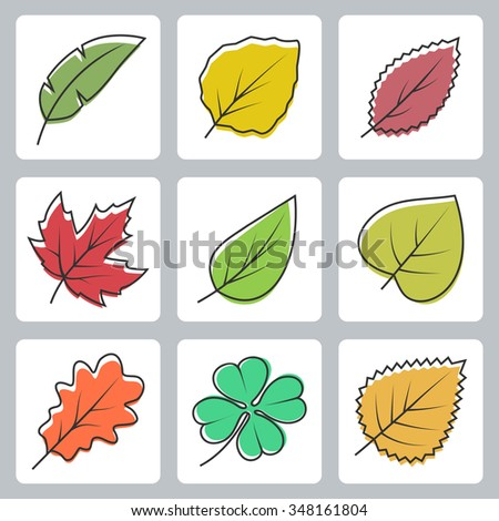 Vector tree leaves icons set - stock vector