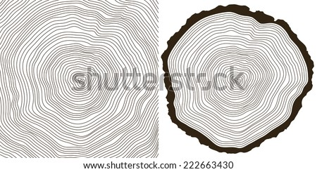 vector tree rings background and saw cut tree trunk - stock vector