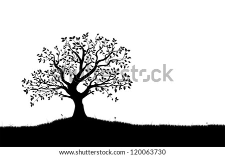 Vector tree silhouette, flowers and grass, black and white vectorial shape, - stock vector
