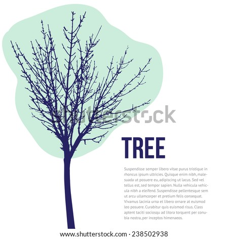 Vector tree  silhouette. Winter tree silhouette isolated on white background, vector - stock vector