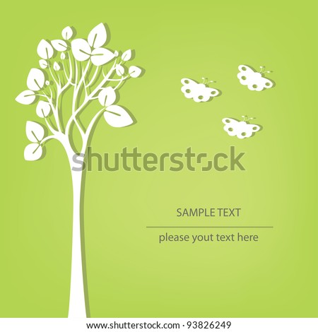 Vector tree stylized with butterfly - stock vector