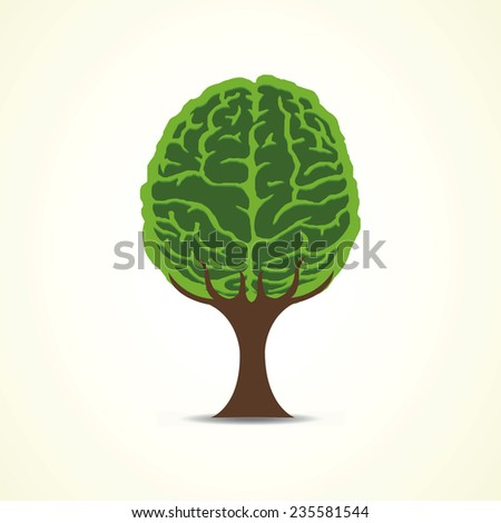 Vector tree with brain shape - stock vector