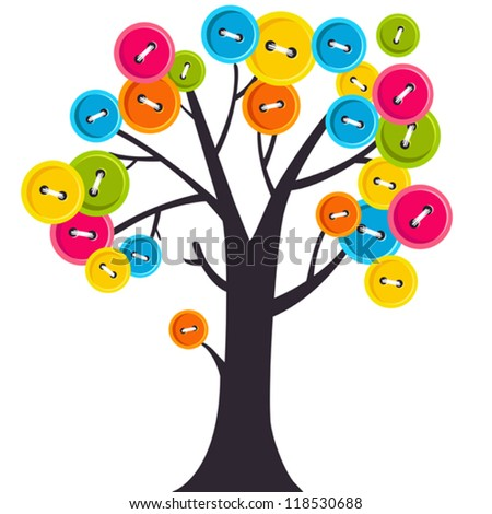 Vector tree with colorful buttons-leaves, can be use like a greeting card, background, wallpaper, decoration - stock vector