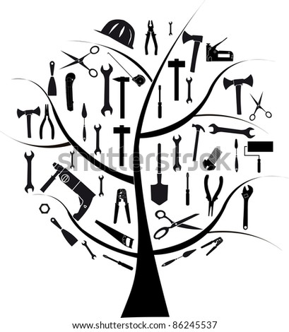 Vector tree with different tools for repair - stock vector