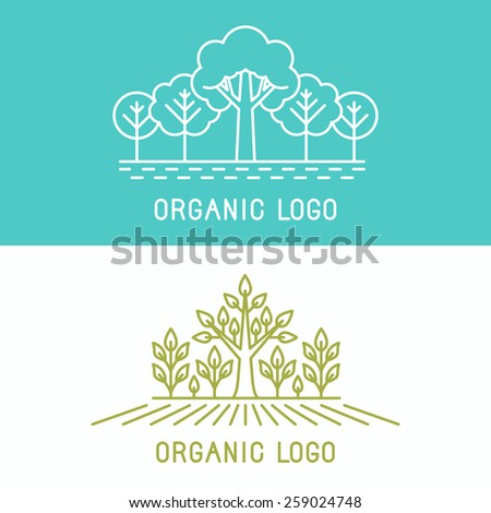 Vector trees and parks logo design elements in linear style - abstract landscapes and nature concepts - stock vector
