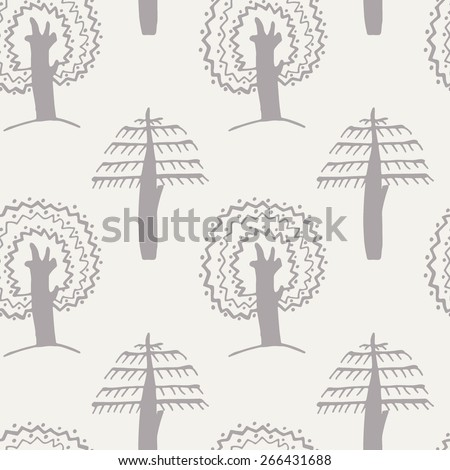 vector  trees seamless pattern. It can be used for wallpaper, fabric design, textile design, cover, wrapping paper, banner, card, background - stock vector