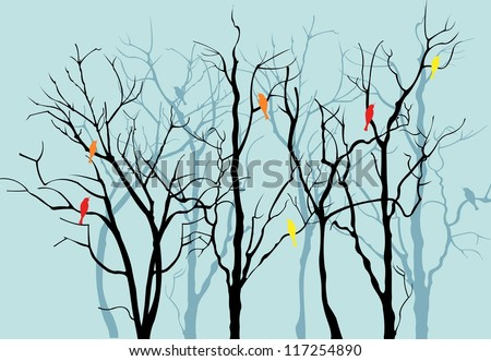 Vector Trees Silhouettes - stock vector
